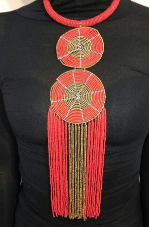 Red Hanging Maasai Beaded Necklace for Sale, used for sale  Dallas, TX