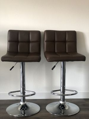 2 stools,synthetic leather, brown color for Sale in Seattle, WA