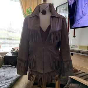 Frye Apparel suede fringe brown jacket for Sale in Kernersville, NC