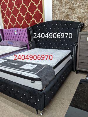 No credit needed Black Velvet rhinestone queen size platform bed frame only for Sale in College Park, MD