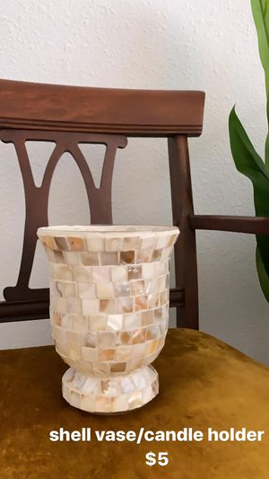 Coastal Shell Vase - Candle Holder for Sale in Lakeland, FL