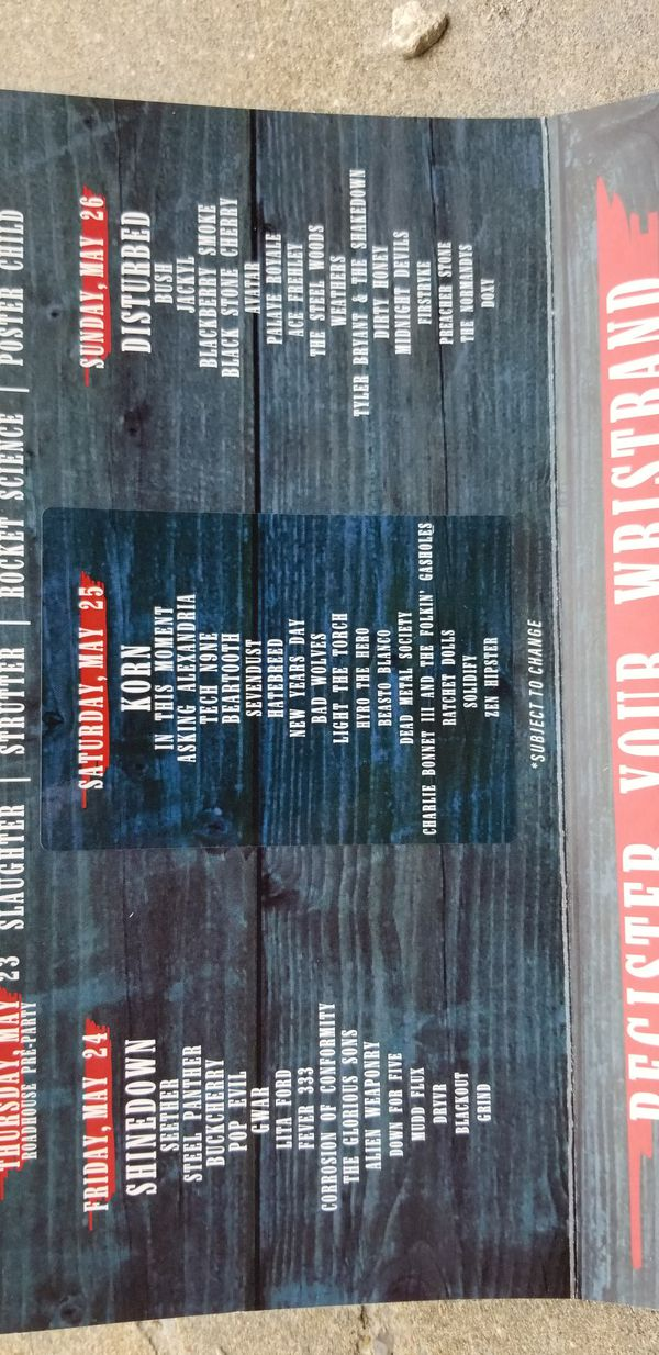 A pair of 3 day 2019 Rocklahoma passes