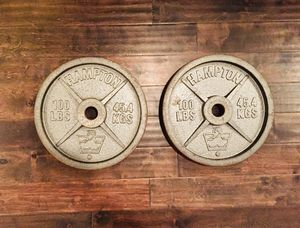 Vintage 100lb Weight Plates - Set of 2 - 200lb Total - Hampton Olympic Style Cast Iron for Sale in Bentonville, AR