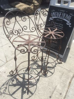 Pair of wrought iron bar stools for Sale in San Diego, CA