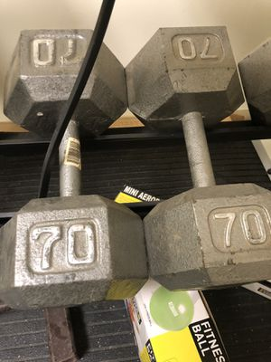 70 pound hex dumbbell set cast iron (2) pair for Sale in Wexford, PA