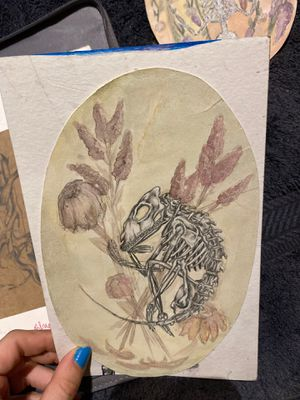 HAND DRAWN Mixed Media Art, Esoteric Mystery Creature w/ Dried Flower Detail for Sale in Roseburg, OR