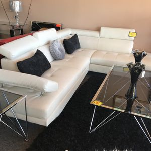 Contemporary White Leather Sectional for Sale in Irving, TX