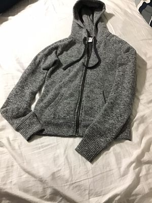 Small Grey Jacket with hoodie 100% polyester (female fitted) for Sale in Miami Gardens, FL