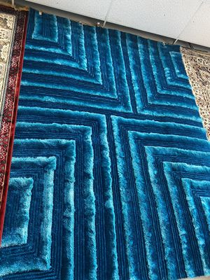 8x10 turquoise blue 3D shaggy rug brand new soft shaggy carpet for Sale in Los Angeles, CA