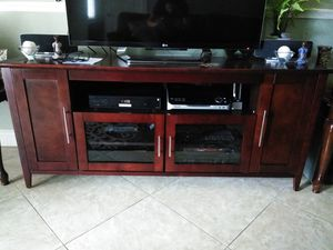 Wood and Glass Entertainment Center for Sale in Tampa, FL