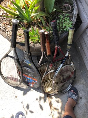 6 tennis rackets for $20 only the middle one is in its case for Sale in Long Beach, CA