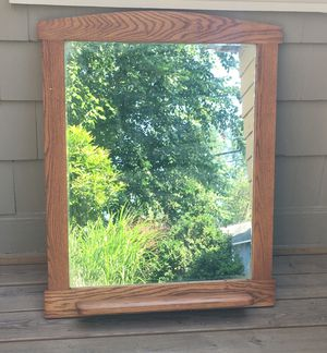LARGE SOLID WOOD FRAMED MIRROR for Sale in Tewksbury, MA