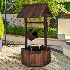 Rustic Water Well Fountain Solid Wood Bucket Wishing Wells Fountains Pump Garden Outdoor Wooden for Sale in Sacramento, CA