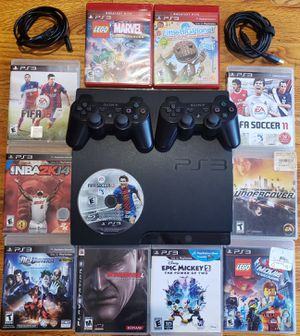 Ps3 slim, 320 gb cords included and 11 games for Sale in Queens, NY