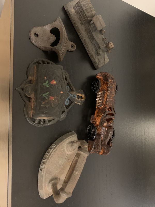 Cast iron paper weights and car