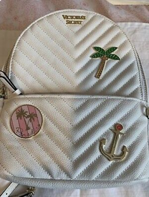 Victoria Secret Embellished V-Quilt Small City Backpack White/Gold/Pink🌴 for Sale in Los Angeles, CA