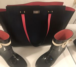 Kate spade large tote and rain boots /7M for Sale in Seattle, WA