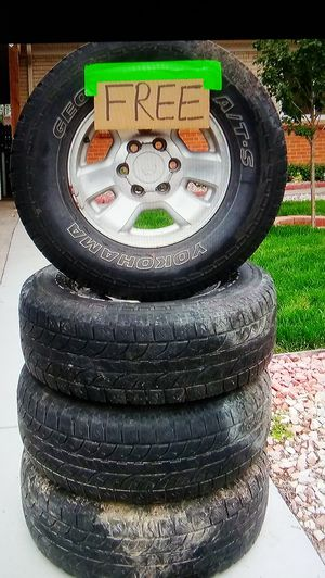FREE!! 4 USED TIRES AND RIMS FOR A 97 4RUNNER for Sale in Aurora, CO