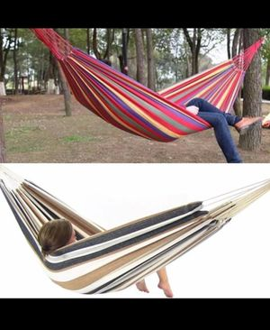 New in box LIMIT 1 PER CUSTOMER 220 lbs weight capacity 110x32 inches canvas fabric red or grey stripe hammock with carrying bag for Sale in Pico Rivera, CA