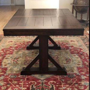 World Market Mahogany Verona Trestle Table with 4 Chairs and Bench for Sale in Kent, WA