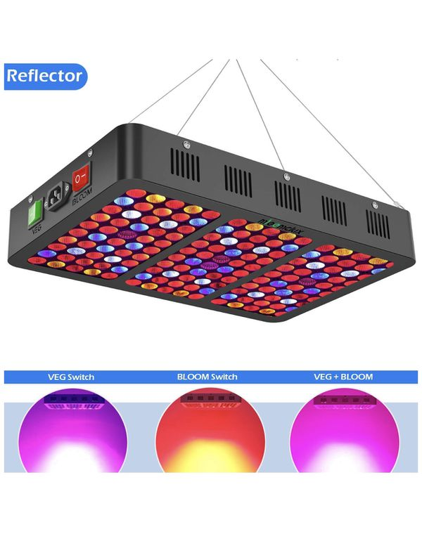 1500W LED Grow Light with Reflector, Triple-Chips (15W LED) Full Spectrum LED Plant Growing Lamp with Bloom and Veg Switch for All Indoor Plants (Dai