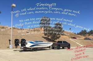 We can move your 5th wheel, camper trailer, boat,equipment, and more!! for Sale in Lake Elsinore, CA