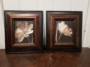 Two Flower Sepia Tone Framed Photos for Sale in Las Vegas, NV