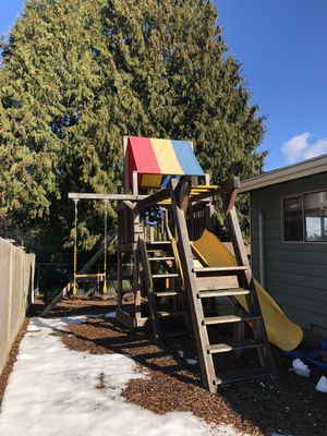 Rainbow Play Systems Play Structure, Wooden Swing Set for Sale in Seattle, WA