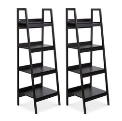 Set of 2 Wooden 4-Shelf Open Ladder Bookcase Storage Display Organizers w/ Metal Framing - Black for Sale in The Bronx,  NY