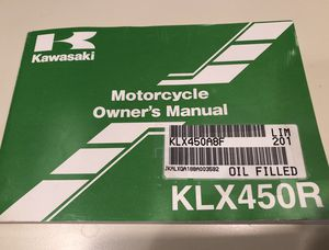 2008 KAWASAKI KLX450R MOTOCROSS MOTORCYCLE OWNERS MANUAL -KLX 450 R-KLX450A for Sale in North Massapequa, NY
