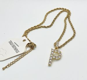 Initial Letter Cubic Zirconia & Rope Chain Stainless Steel 18K Gold Plated for Sale in Kissimmee, FL