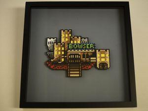 Nintendo Perler Bead art framed 3D Bowser's Castle for Sale in Redmond, WA