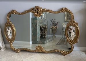 "73""x46"" Absolutely breathtaking antique Italian Rococo gold gilded mirror adorned on each side with the realistic figures-from two young lover. for Sale in Laguna Niguel, CA"