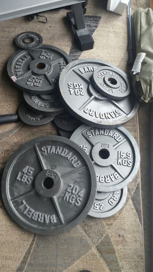 Full Set of Iron Weights & Olympic Bar for Sale in Fairfax, VA