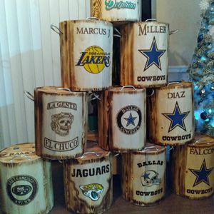 Custom Wooden Coolers NFL, NBA, CFL, SOCCER, AND BUSINESS LOGOS with custom First and Last names on Coolers. Customization is laser engraved 🔥 for Sale in El Paso, TX