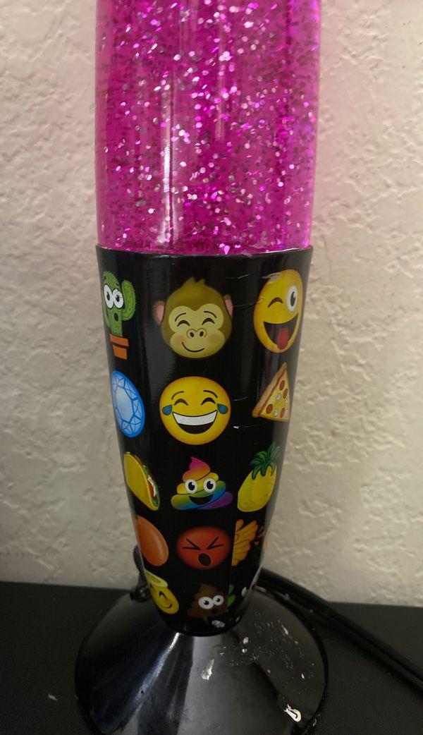 Pink glitter light lamp with emojis on bottom