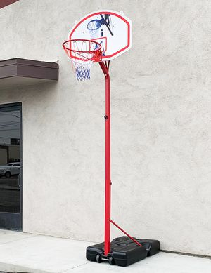 "New $75 Basketball Hoop w/ Stand Wheels, Backboard 32""x23"", Adjustable Rim Height 6' to 8' for Sale in Whittier, CA"