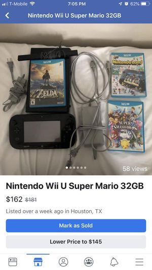 Nintendo Wii U super Mario 32GB black for Sale in Houston, TX