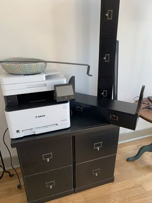 Ballard Designs wood file cabinet set with top and two shelves for Sale in San Diego, CA