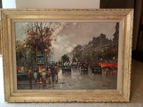 Louie Dancourt Paris Street Scene painting