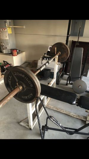 Bench press/squat rack 500lbs in weight 50 lbs bar. NOT Sold Separately!!! for Sale in Spring, TX