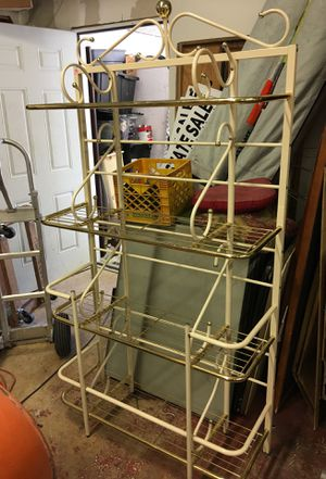 "Beautiful gold and creme Baker rack. 73"" tall to top ball 14.5"" deep 38.5"" wide PRICE SLASHED for Sale in Fort Lauderdale, FL"