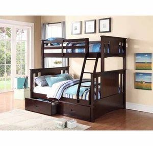 Espresso twin full bunl bed divisible to 2 beds( new) for Sale in San Mateo, CA