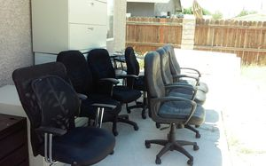 Black chairs, desk, hon rolling file cabinets ,metal bar stools chrome table for Sale in North Las Vegas, NV