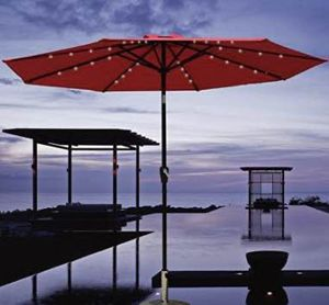 NEW 9 feet diameter 8 Ribs tilt and crank Red Light Brown or Beige color outdoor patio restaurant umbrella with solar powered LED lights waterproof s for Sale in Los Angeles, CA