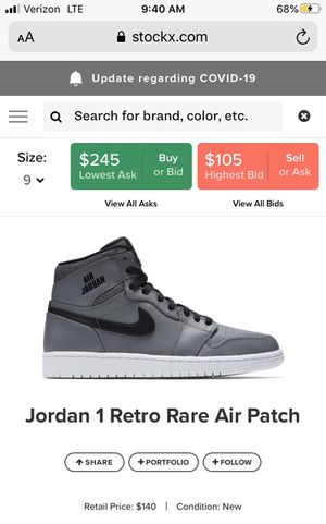 Jordan 1 retro size 9 gray Rair air for Sale in Los Angeles, CA