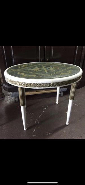 Antique Italian Hand Painted Glass Top End Table for Sale in Monterey Park, CA