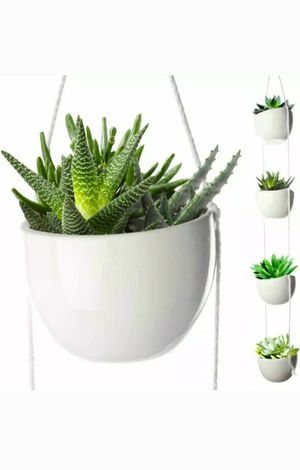 4 Tier Plant Hanging Holder White Ceramic Planters for Wall Ceiling Decorative Herb Garden for Sale in Miami Beach, FL