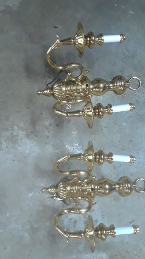 2 solid brass candle light light fixtures for Sale in Gibsonia, PA