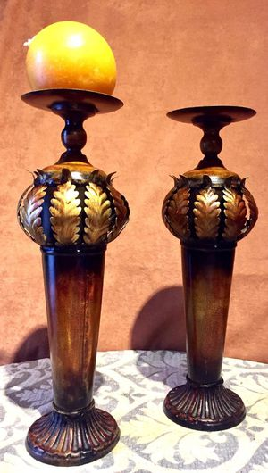 Set of 2 Metal art candle holders; H16xW5 inch for Sale in Chandler, AZ